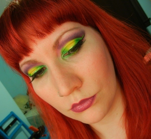 Mardi Gras inspired look, with my new bangs.