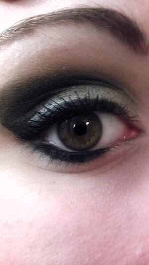 Silver and black smokey eye