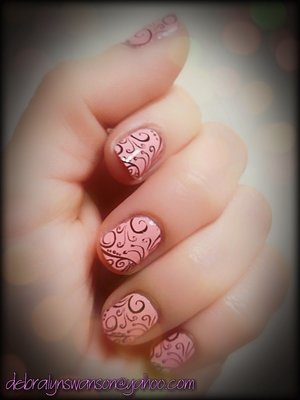 Nail stamping with Revlon Gel-Envy and Wet&Wild polishes.