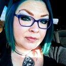 Blue hair Blue glasses