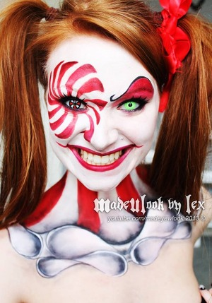 Clown makeup tutorial can be found on my youtube channel, madeyewlook! This was done using body paint and eyeshadows.