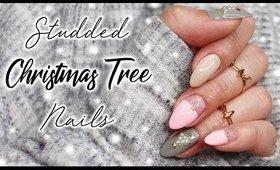 Studded Christmas Tree Nail Art   Vlogmas Day 22 ♡