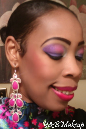 Bright purple and fushia look of the day.