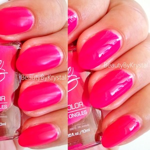 Neon pink, incredibly vivid, semi-matte finish, almost looking rubbery. Left without top coat, right with top coat MORE PHOTOS http://tinyurl.com/n6gs9sz