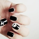 Jack Skellington Halloween nail art.