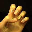 Pink and gold sparkle nails