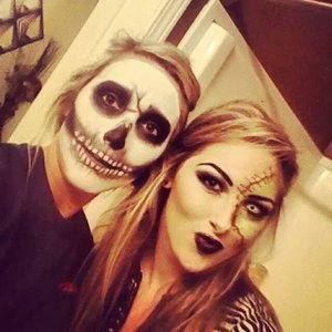 Skeleton and half-face frankenstein halloween done by me (: