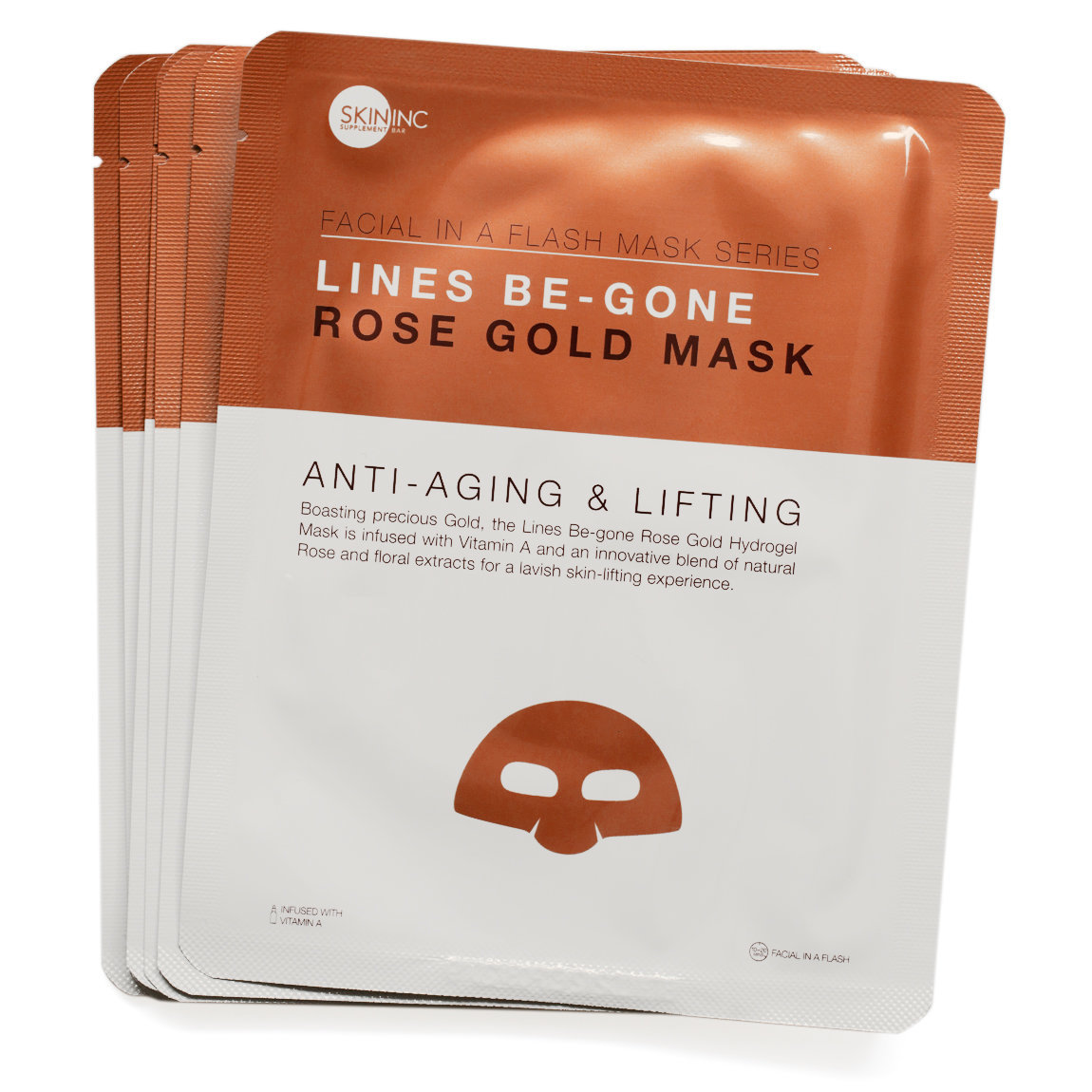 Skin Inc Supplement Bar Facial In-A-Flash Lines Be-Gone Rose Gold Mask 3-Pack product swatch.