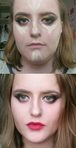 """Before and after I finished my sister's makeup.    First picture: Eyemakeup done, green concealer already applied and blended out, Urban Decay concealer in the shade """"Fair Neutral"""" applied."""