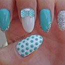 Blue Bow Nails