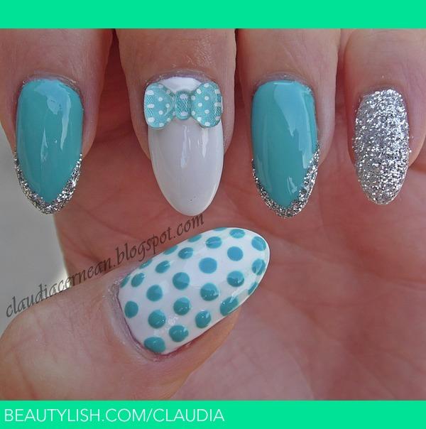 Blue Bow Nails   Claudia C.\'s (claudia) Photo   Beautylish