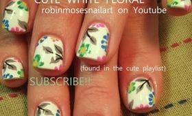 how to paint short white nails with neon flowers: robin moses nail art design tutorial 590