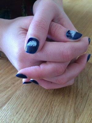 RCM Midnight Affair with white feather detail.  #gelnails #nailart #blue #feather