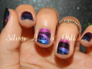 Water marbling over a gradient design.
