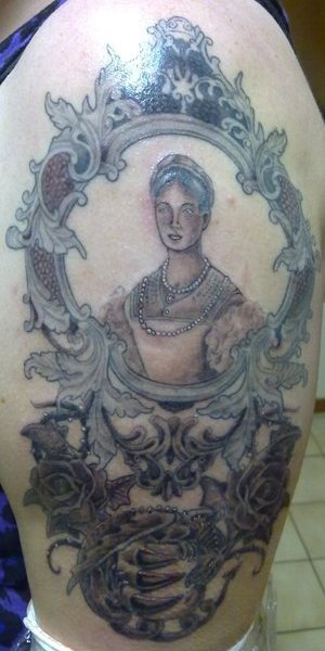 1 hour after it was finished. My Countess Elizabeth Bathory Portrait Tattoo.