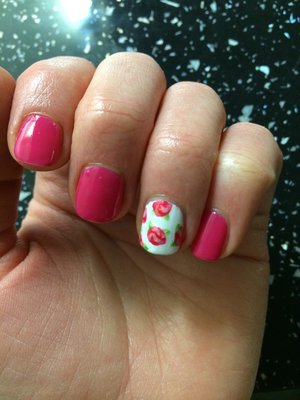 Vintage flowers and pink, gel polish, RCM