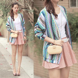 Ethnic Style Cardigan, featuring V neckline with button through fastener front, batwing sleeves, loose fit.
