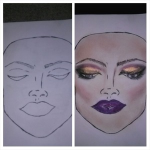 My very first hand drawn practice face. All colors used from my coastal scents 120 palette