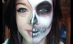 Halloween Makeup: Easy Half Skull Tutorial