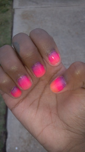 """Pretty ombre nails. Beautiful colors blended together to make a """"paradise sunset"""" ♥♥♥. Colors used to create this look are: purple, deep or hot pink, a lighter pink color, and finally a light orange color."""