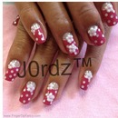 Pink Polka dots w/Puffy Flowers