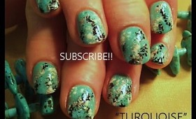 TURQUOISE faux finish sponge technique: robin moses simple nail art design tutorial 510