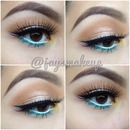 Neutral look with a pop of bright colors.
