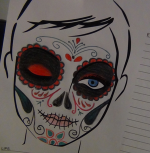 My face chart for my sugar skull look... This was definitely a look which required planning!