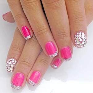 Pink with glitter tips and rhinestone single nail xx