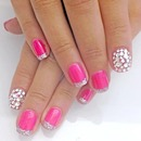 rhinestone, pink and glitter tips