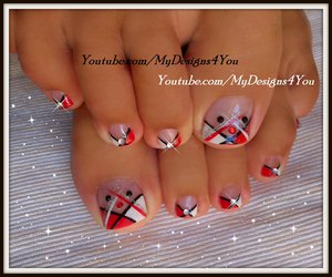Abstract Toenail Art | Red, Black and White Pedicure