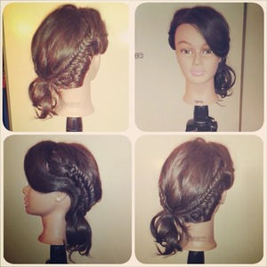 Braided side pony with fishtail accents and a bouncy bang on my Gaby dollhead.