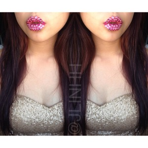 "Lipstick: MAC's ""Pink Nouveau"" bedazzled w/ pink Swarovski crystals on top!"