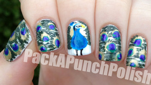 I had a request to do peacock feather nails, but I didn't just want to do the feathers. I wanted to incorporate the beautiful bird responsible for the feathers as well. This is what I ended up with. I really really like how these turned out! You can read my blog post to see the full list of polishes I used. http://packapunchpolish.blogspot.com/2012/09/peacock-nails.html