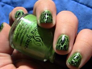 Nails: OPI Nail Polish in Black Shatter, China Glaze Nail Polish in Treehugger