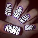 Zebra Nails with Purple Border! :)