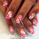 Pink Polka dot nails with bows
