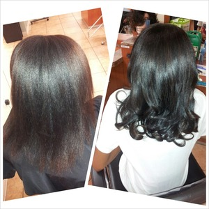 I love my clients, flat iron with curls :-)