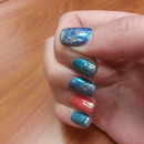 Foil glitter coral n turquoise