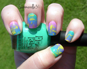 Orly Dayglow base, gradient Finger Paints 15 Minutes of Frame, Sinful Colors Why Not, Color Club Pucci-licious, no name neon pink Cosmetic Arts and splattered with China Glaze Electric Pineapple