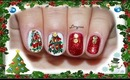 Marble NO WATER Christmas Tree Nail Design (for short nails) - Day 10