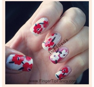 FOR DETAILS GO TO: http://fingertipfancy.com/red-floral-hand-painted-nails