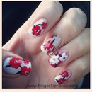 Red Floral hand painted nails : FingerTip Fancy