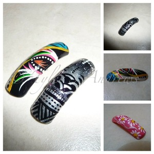 Abstract, Tribal and Flower Nail Art
