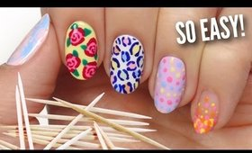 5 Easy Nail Art Designs Using A TOOTHPICK!