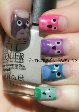 Owl mani!  http://samariums-swatches.blogspot.com/2011/10/adorable-owl-mani.html