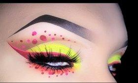 Sexy Neon Cut Crease with Polka Dots Makeup Tutorial