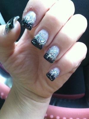 New nails <3 sexy and fierce. #blacktipnails#blingnails#glitternails#sparklenails#tipnails#nails#sexynails#promlooknails#promnails#sweet16nails#goingoutnails#funnails#creative#classynails#glitterfun