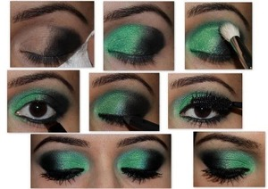 Great for brown eyes.. Use Eyeshadow emerald shade to create this look, eyebrows were filled with L'Oreal cream eyeliner, which doesn't fade easely if you have if you have oil skin type like me...