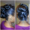 Twisted Mohawk/bun on natural hair